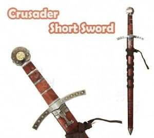 22-034-Medieval-Crusader-Dagger-Knights-of-Templar-Sword-With-Sheath-Brown-New