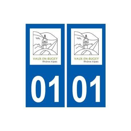 01 Vaux-en-Bugey logo ville autocollant plaque sticker -  Angles : droits