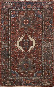Antique-Geometric-Gharajeh-Area-Rug-Tribal-Traditional-Hand-knotted-Wool-5x6-ft