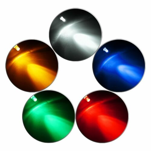 LED 3mm 5 colours RED GREEN YELLOW WHITE BLUE.
