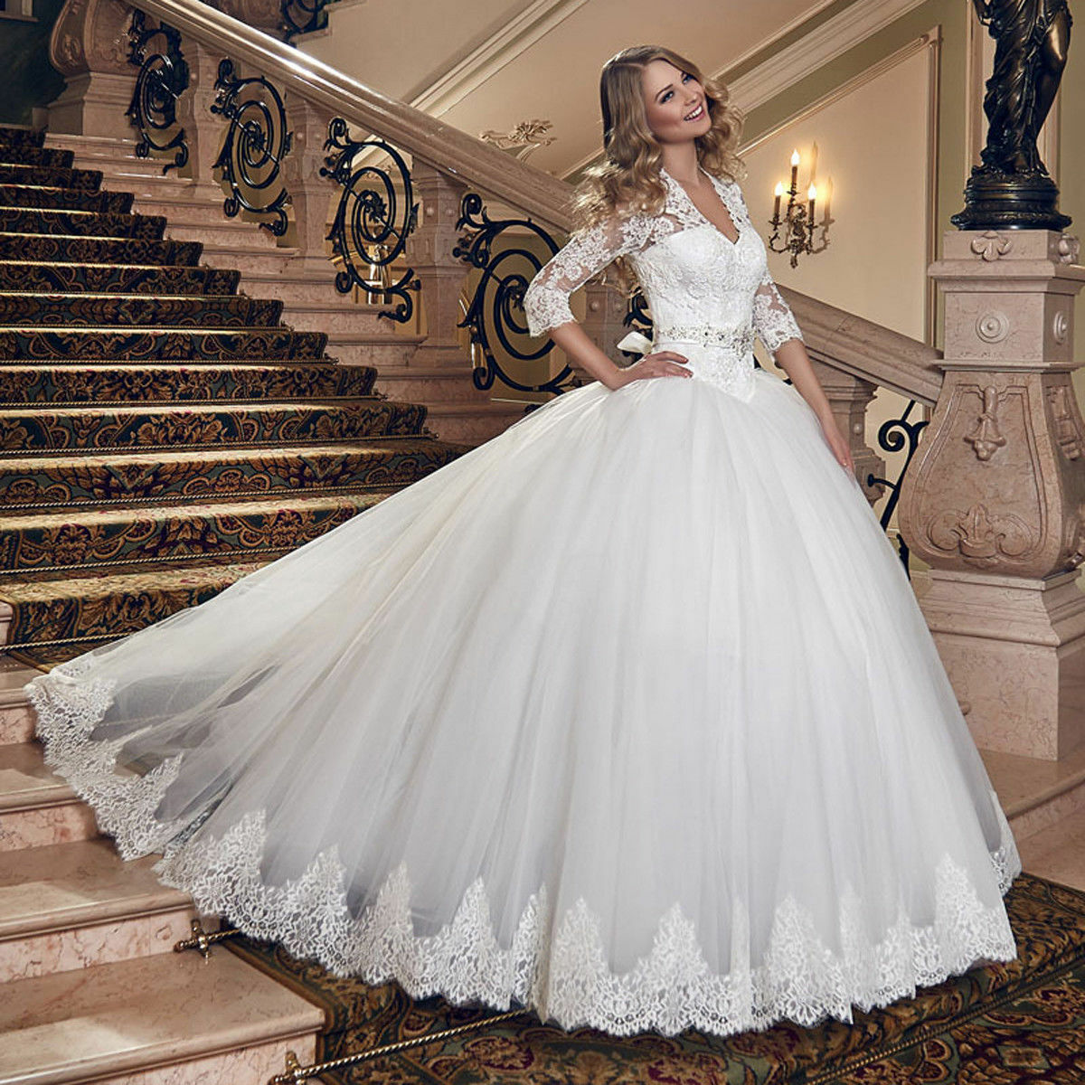 New White Ivory Vintage Lace Illusion 3/4 Sleeves Crystal Bridal Wedding Dresses
