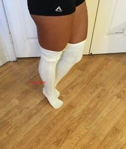 eba87c228 Womens Soft Cable Knit Over The Knee Thigh High Socks OTK Long Boot ...