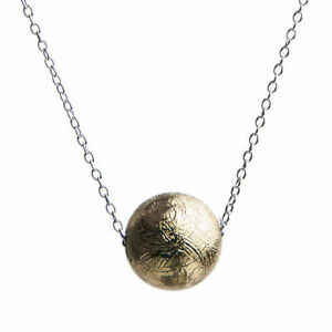 Genuine-Natural-Gibeon-Meteorite-Round-Beads-Gold-Plated-Pendant-Necklace-8mm