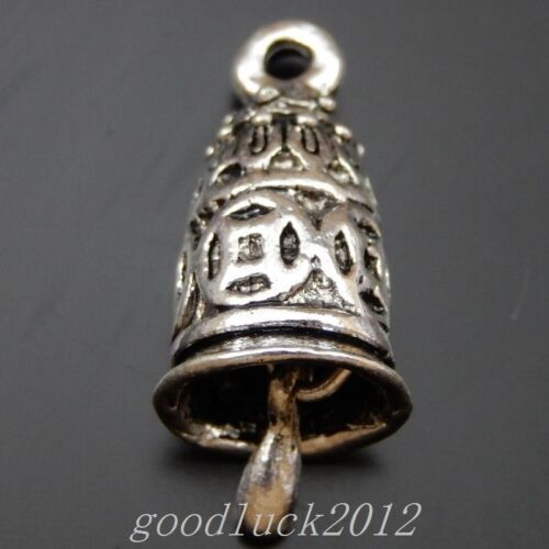 18PCS Antiqued Style Silver Alloy Small Bell Shaped Charms Pendant 39838