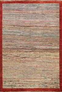 Modern Striped Gabbeh Oriental Hand-knotted Area Rug Wool Foyer Carpet 5'x6'