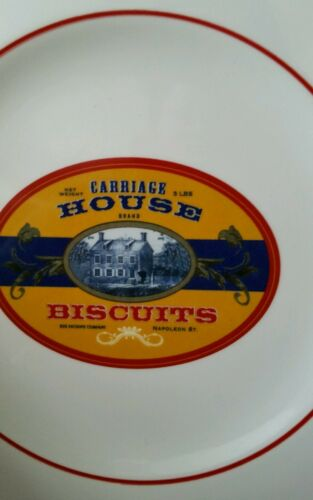 """Williams Sonoma Carriage House Biscuits Plate Retro Label Salad Dessert 9 1//8/"""""""