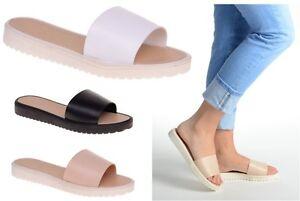 Senoras-Mujeres-Jalea-Sandalias-De-Verano-Piscina-Slider-mulas-Flip-Flop-Zapatos-Talla