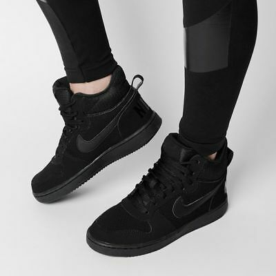 NIKE COURT BOROUGH MID SHOES TRAINERS UK SIZE 6-9.5 844906 002  BLACK TRAINERS