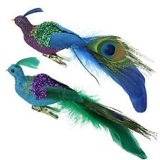 """8"""" Regal Peacock Purple, Green and Blue Sequins Bird Clip-On Christmas Ornament"""