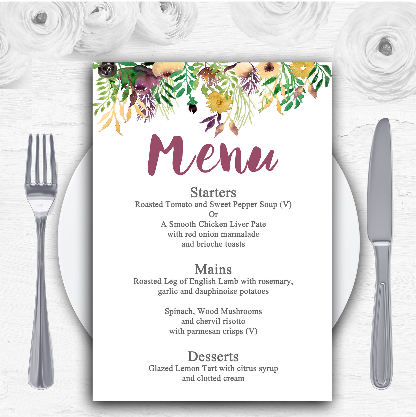 Autumn Plum Watercolour Floral Header Personalised Wedding Menu Cards