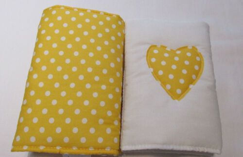 any colour 8, 10, 12 New  Babies Spotty Applique heart Cot Bar Bumpers