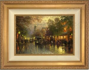 Thomas-Kinkade-034-EVENING-ON-THE-AVENUE-034-12X18-G-P-LE-Framed-Canvas-Low-Number