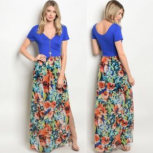 cb5ca180514 Image is loading NWT-Large-Women-s-Floral-Maxi-Dress-Summer-