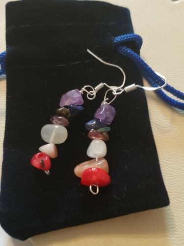 Reiki Healing Crystal Chips Earrings Compassion Mix Sterling Silver 925 Ear Wire