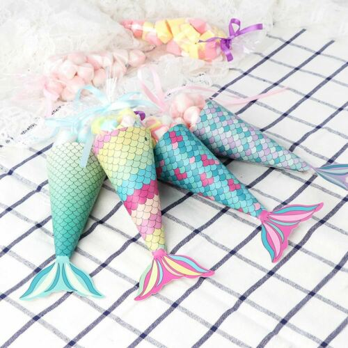 48×Mermaid Candy Boxes Gift Bag Sweet Popcorn Holder Mermaid Bachelorette Party