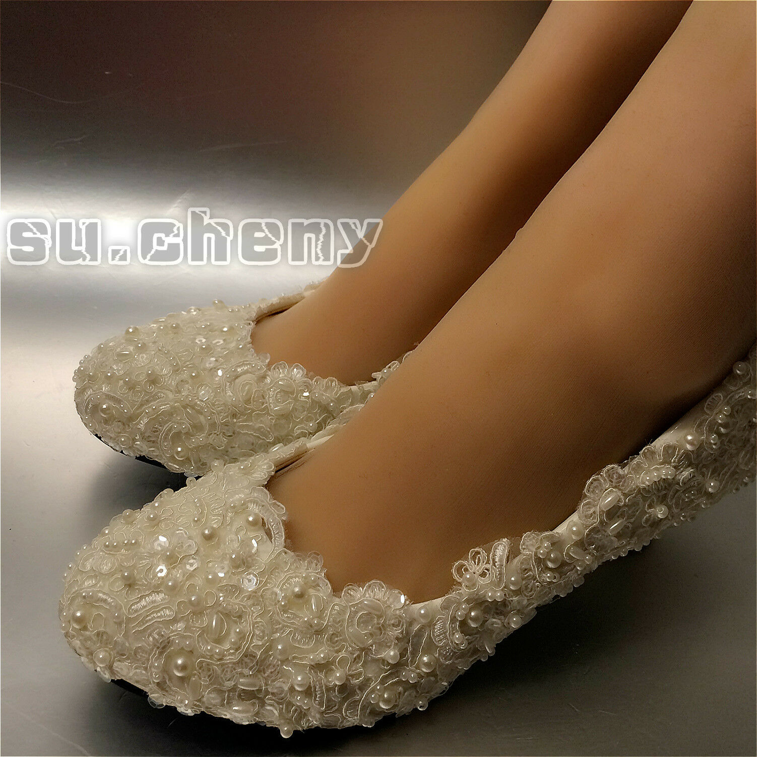 Su.cheny Su.cheny Su.cheny Flats low high heel Ivory white pearl lace Wedding Bridal pumps shoes 178292