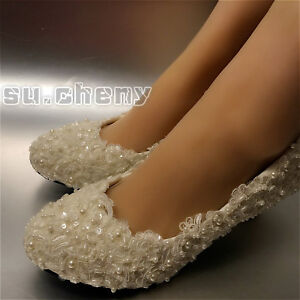 931092b550a7 su.cheny Flats low high heel Ivory white pearl lace Wedding Bridal ...