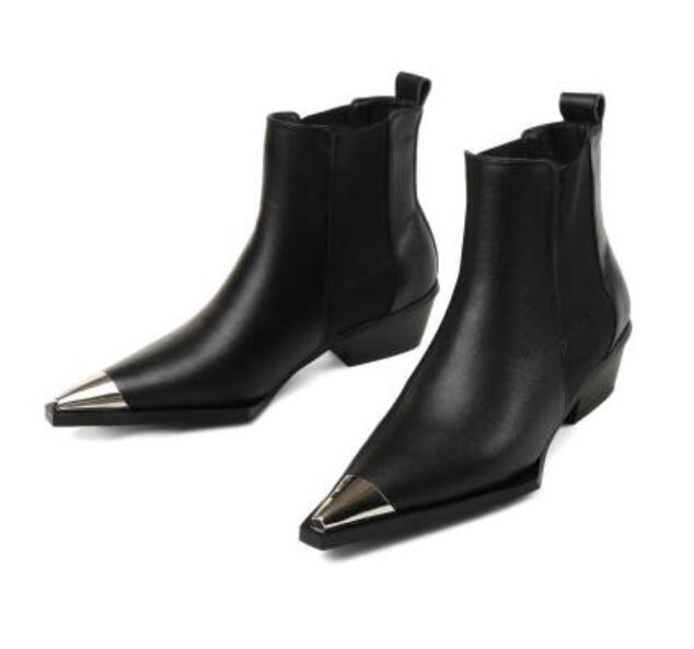 Women's Real Leather Mid Heel Metal Pointy Toe Pull On Ankle Boots Chelsea Shoes