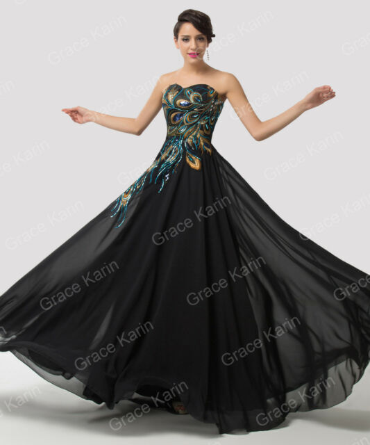 GK Short/Long Black Peacock Prom Evening Dress Wedding Ball Gown PLUS SIZE 2-16