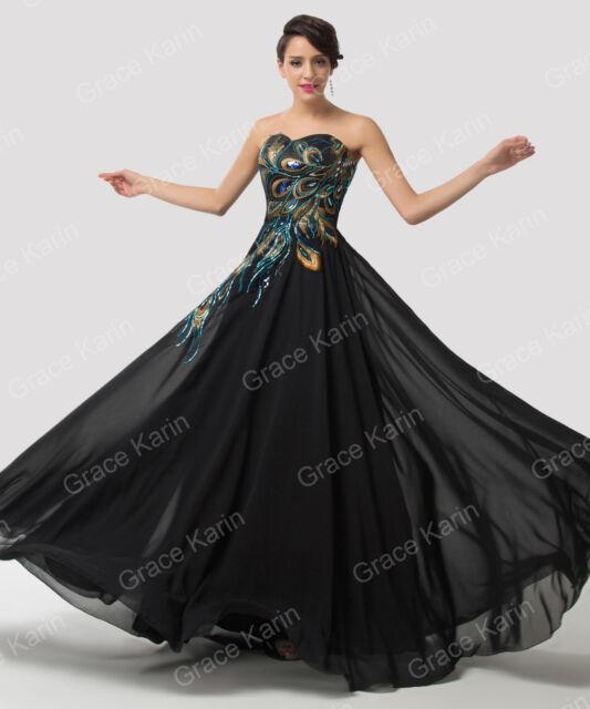 GK Short/Long Black Peacock Prom Evening Dress Wedding Ball Gown PLUS SIZE 2-16