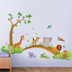 Kids Bedroom Wall Stickers Zoo Animal Jungle Tree Baby Nursery Decor