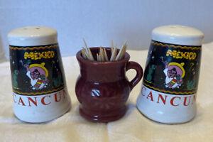 VINTAGE SOUVENIR CANCUN, MEXICO CERAMIC SALT & PEPPER SHAKERS & Toothpick Holder