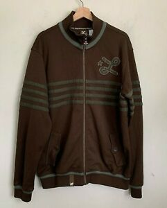 LRG Clothing Equipment Track Jacket Mens Brown Logo Print Full Zip Size XL