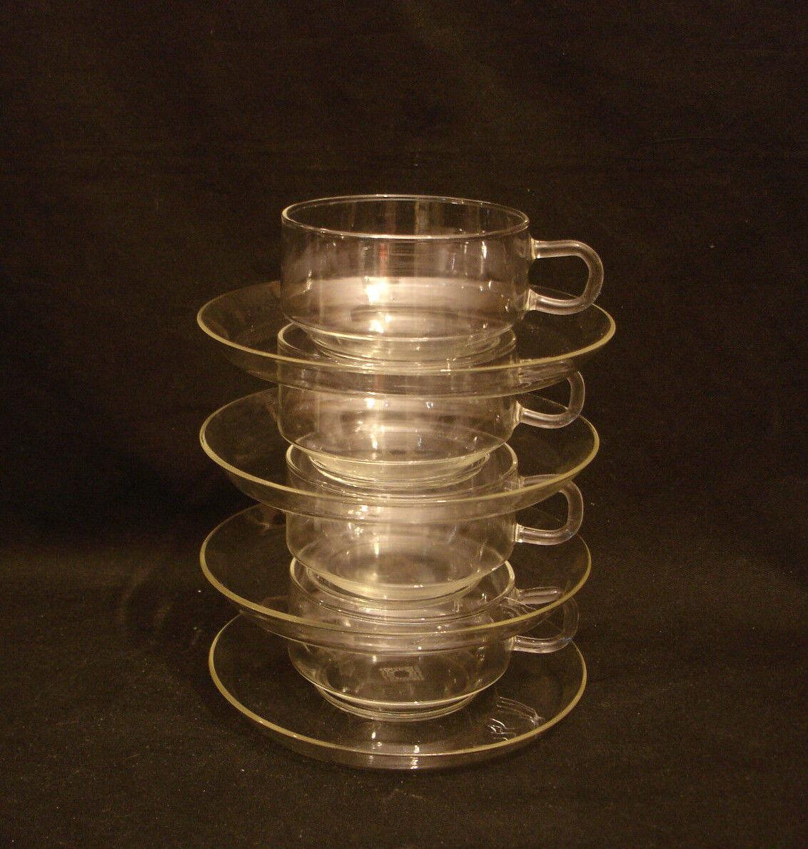 JSCHOTT JENA GLASS CUP & SAUCER 3 1 4  DIAMETER   MADE IN GERMANY   SET OF 4