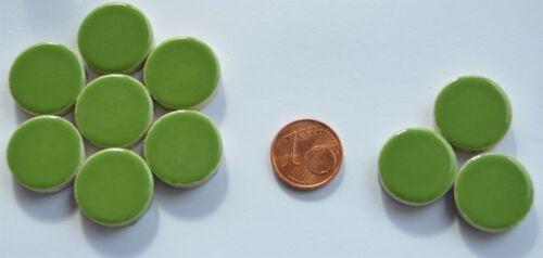 10 Stück keramische Mosaiksteine rund grün Durchmesser ca 17-18 mm ca 20g