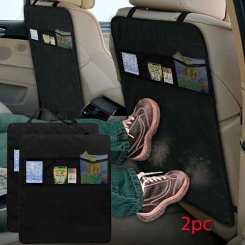 New Adjustable Deluxe Kick Mats Pack Of 2 Protect Both Rear Seats Black