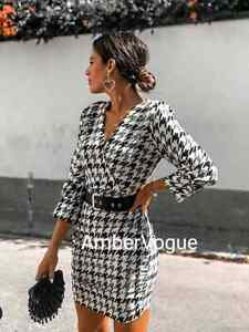 Zara-New-Houndstooth-Belted-Dress-White-Black-Size-XS-S