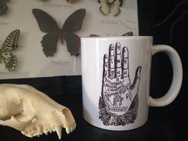 PALMISTRY COFFEE MUG!! tarot ouija gypsy witchcraft occult oddities obscura vtg