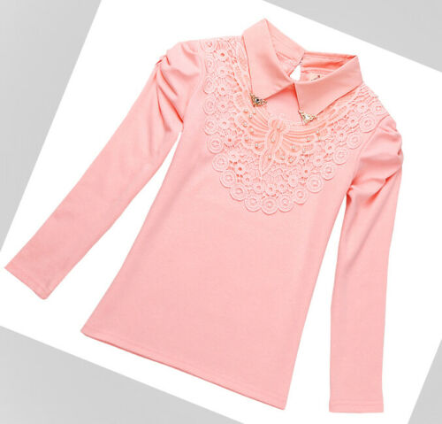 Blouse Girls Top Shirt Lace Autumn Winter Long Sleeve White Pink Age 3-12 years