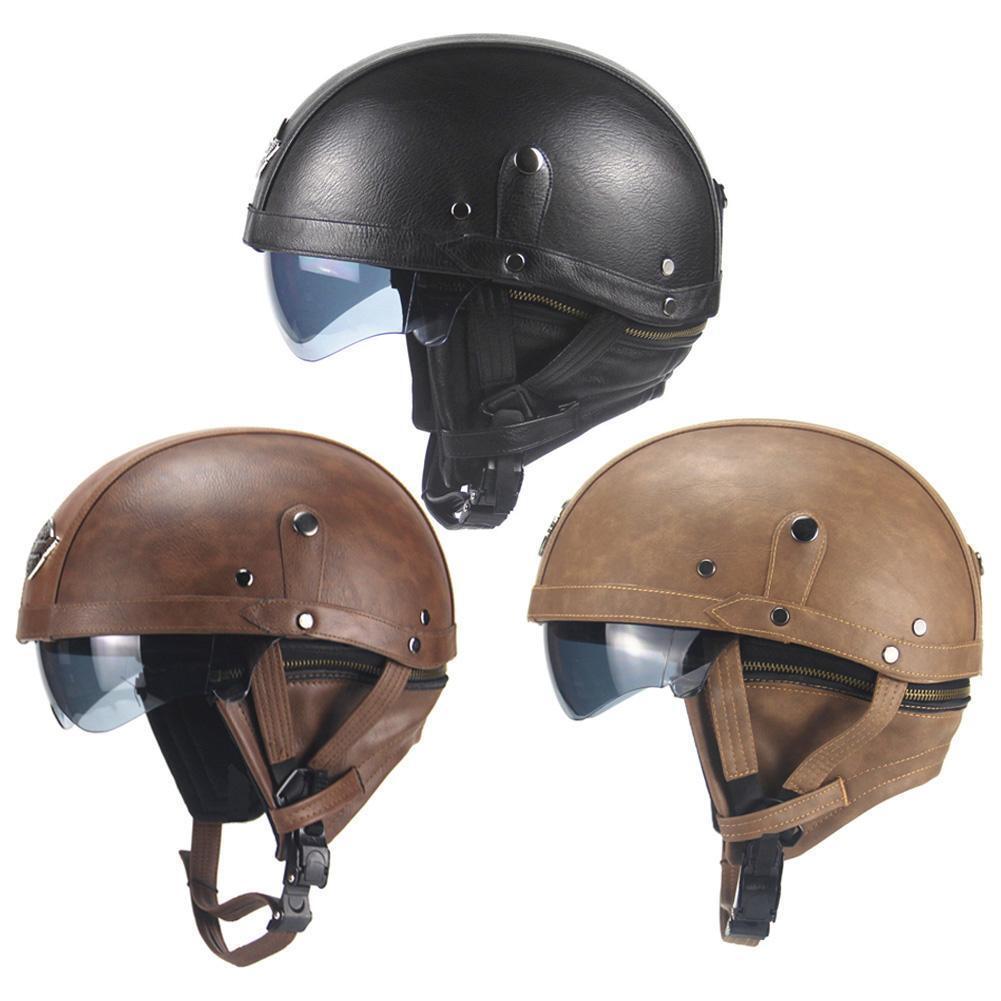 Aviator Retro Harley Motorcycle German Half Open Leather Helmet Dot Chopper