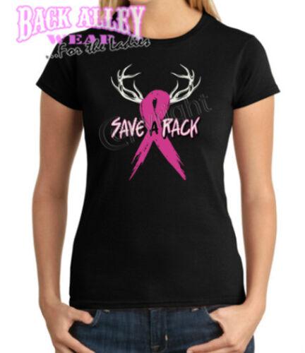 Save A Rack Ladies Shirt S-3XL Breast Cancer Awareness Pink Ribbon Deer Redneck