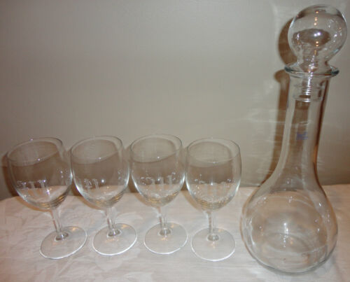 5 Piece Javit Austrian Etched Crystal Wine Decanter with 4 Wine glasses Austria
