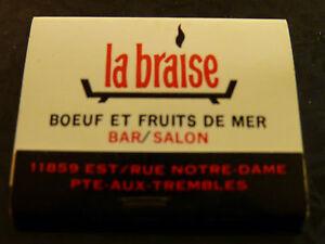 Vintage-Match-Book-La-Braise-Bar-Salon-Boeuf-et-Fruits-de-Mer-Pte-aux-Trembles