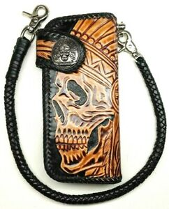 Hand-Made-Leather-biker-trucker-wallet-motorcycle-Chain-Wallet-Chief-of-War