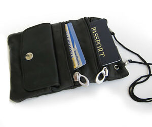 Black-Genuine-Leather-ID-Holder-Neck-Pouch-Wallet-Strap-US-SELLER