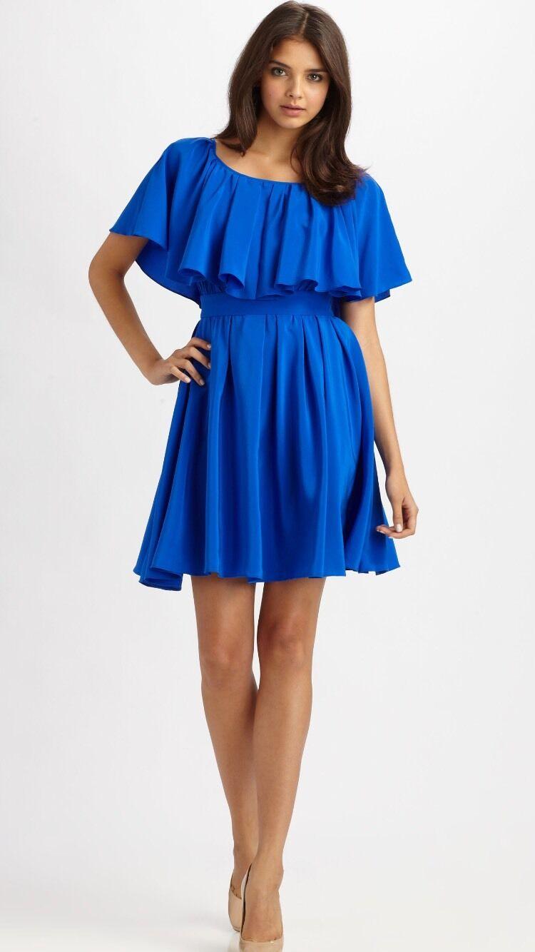 Cynthia Steffe Woherren Dress Overlay Pool Blau Ruffles Größe 0 NWT