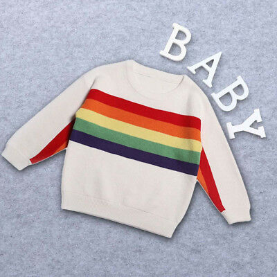 New Toddler Kids Baby Girls Boys Long Sleeve Rainbow Knitted Tops Sweater Jumper