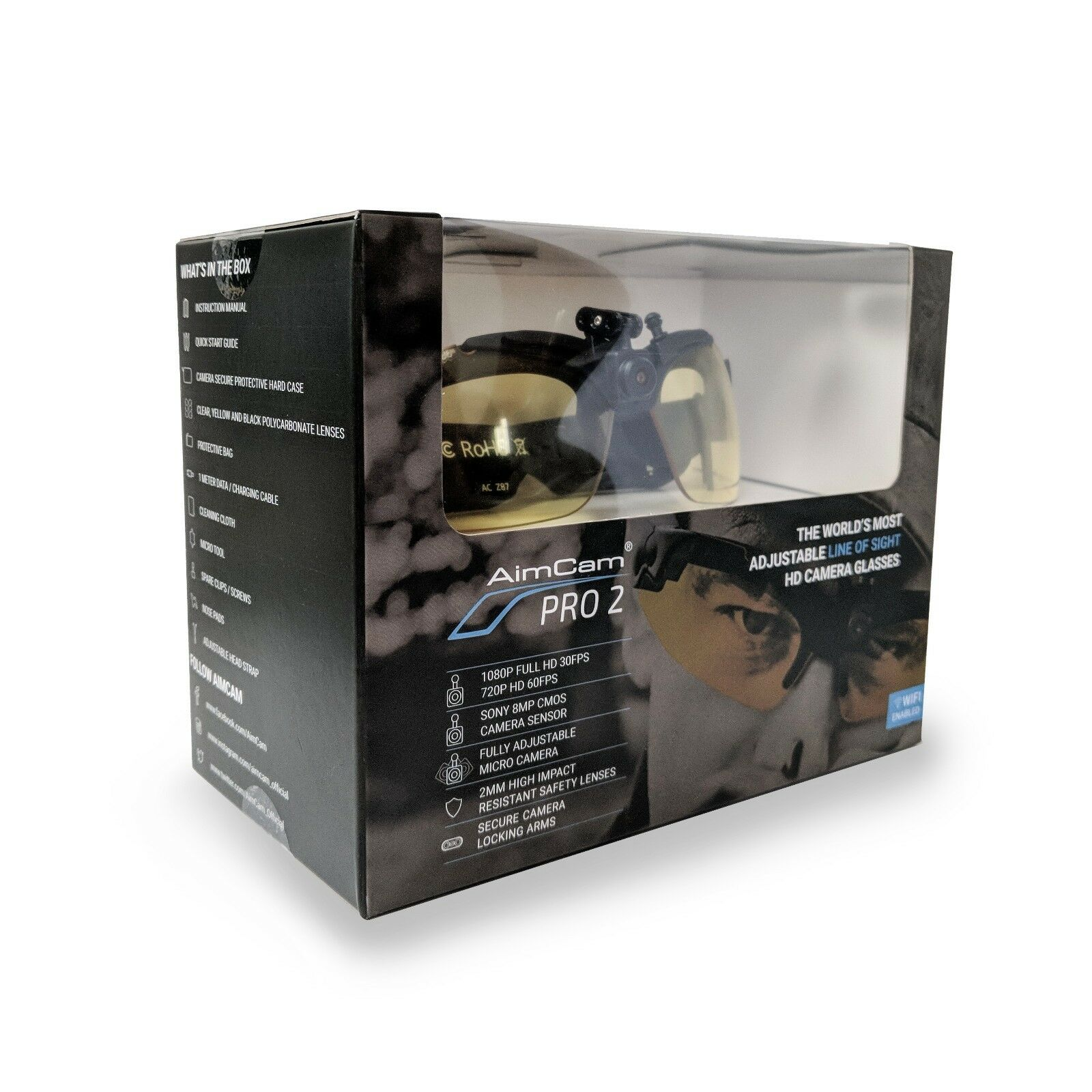 AimCam Camera Glasses Pro 2 Line of Sight Recording Video