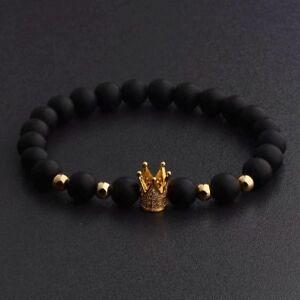 Luxury-Crown-Natural-Stone-Matte-Black-Charm-Men-039-s-Copper-Bead-Fashion-Bracelets