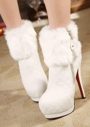 Bottines 9322 14 Look Blanc Similicuir Stiletto Cuir Bottes Bottes Chaussures Cm PBn6vwwqd