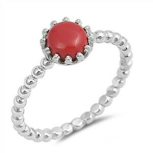 Ring-Genuine-Sterling-Silver-925-Coral-Jewelry-Gift-Face-Height-8-mm-Size-5