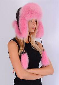2a52c58fcc3ee Saga Furs Pink Blue Fox Fur Genuine Leather Ushanka Trapper Winter ...