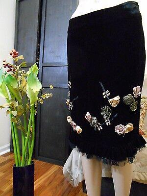 black skirt embellished embroidered s 12