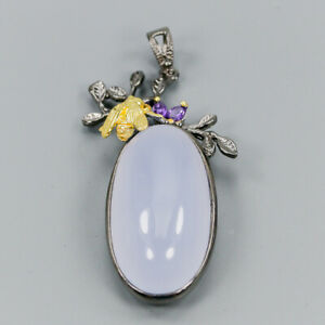 Handmade40ct-Natural-Chalcedony-925-Sterling-Silver-Pendant-NP07932