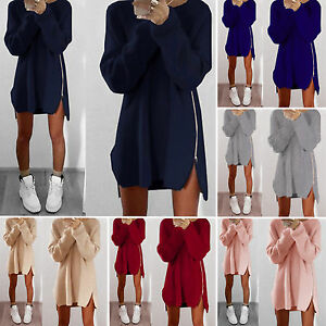 damen langarm strickkleid longpulli pullover strickwaren mini partykleid tunika ebay. Black Bedroom Furniture Sets. Home Design Ideas
