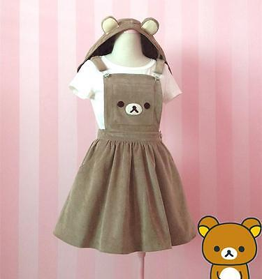Cute Bear Rilakkuma Overalls Dress Straps Braces Suspender Girl Skirt Jumpsuit